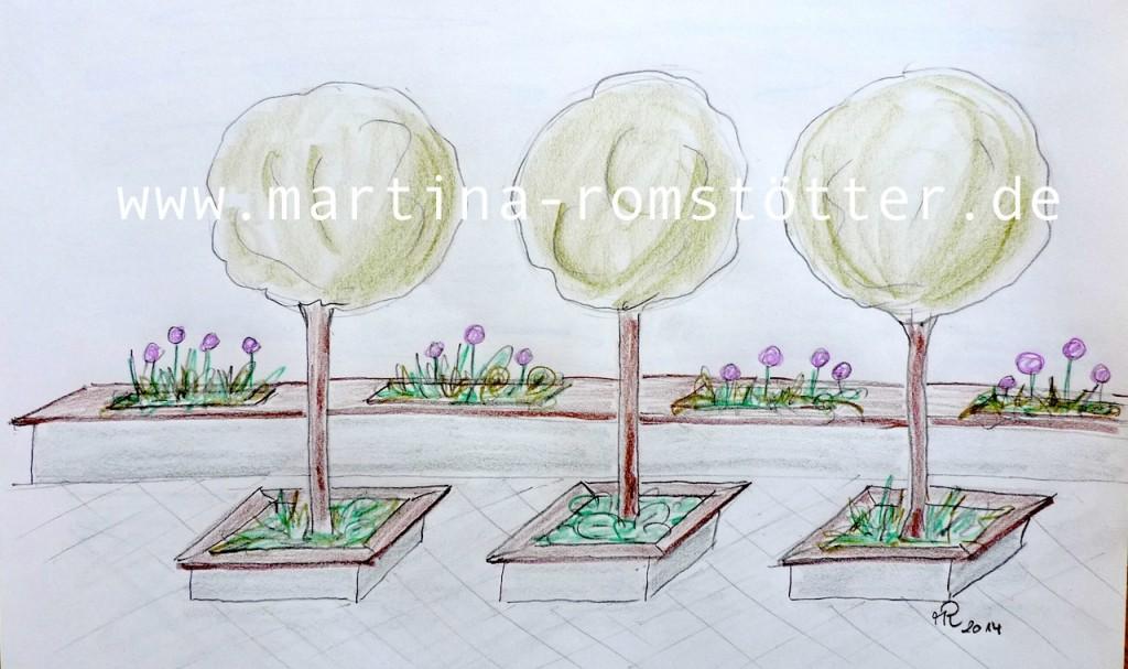 Sichtschutz Kugelbäume+Mauer